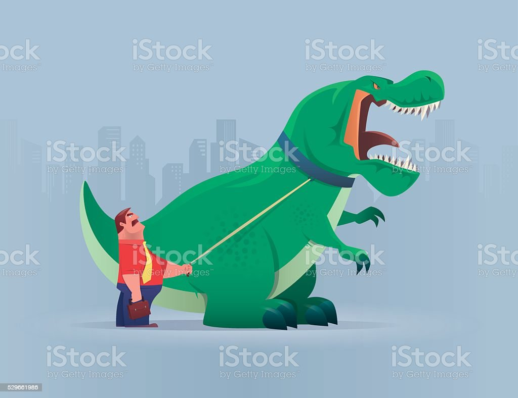 boss with dinosaur vector art illustration