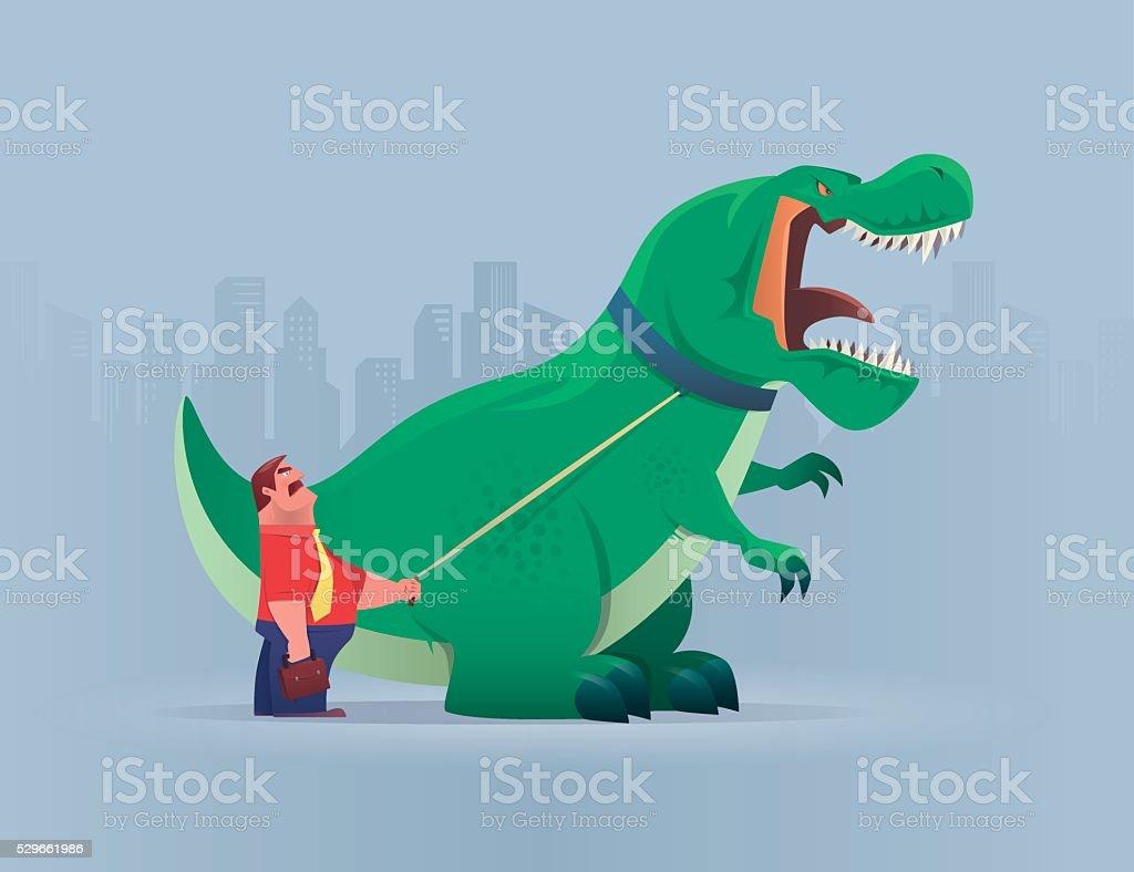 boss with dinosaur vector art illustration
