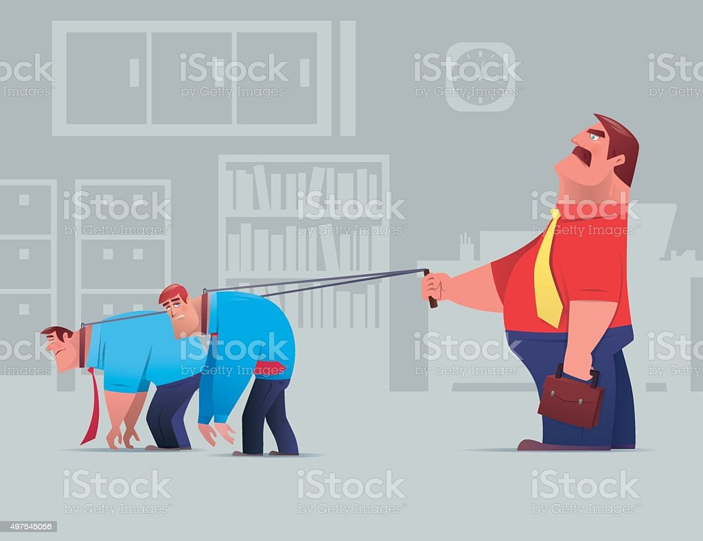 boss with employees vector art illustration