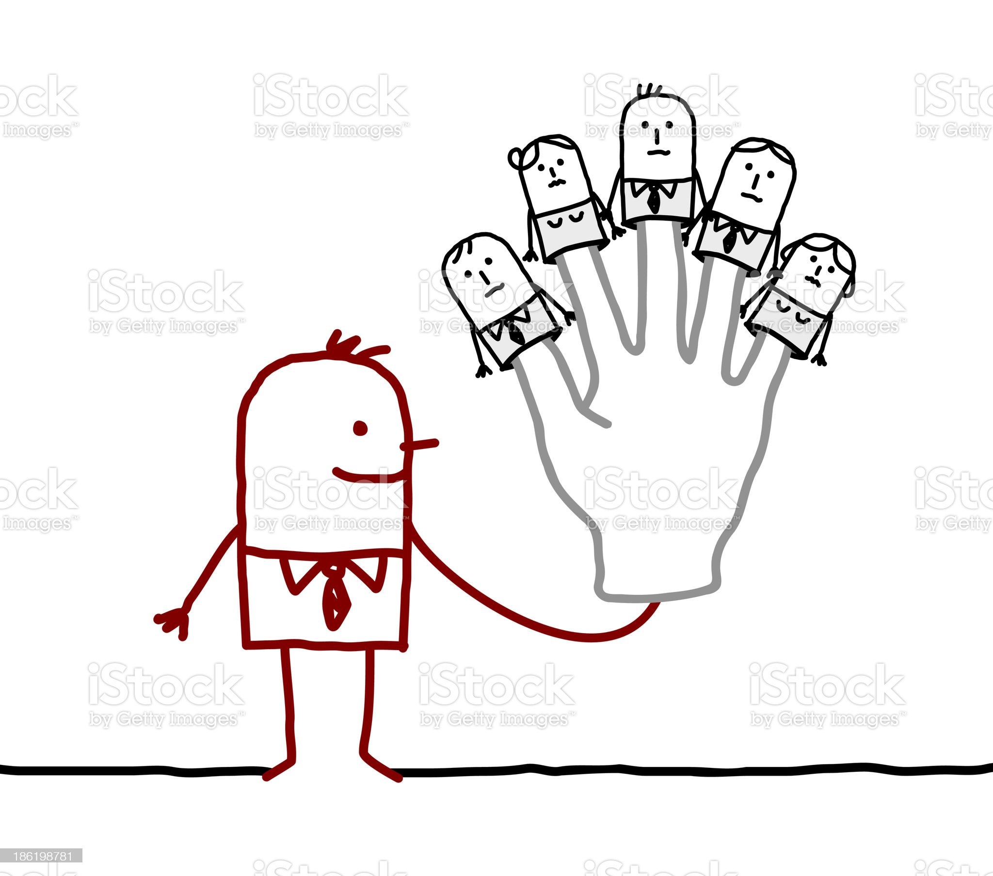 boss with five puppets employees on fingers royalty-free stock vector art