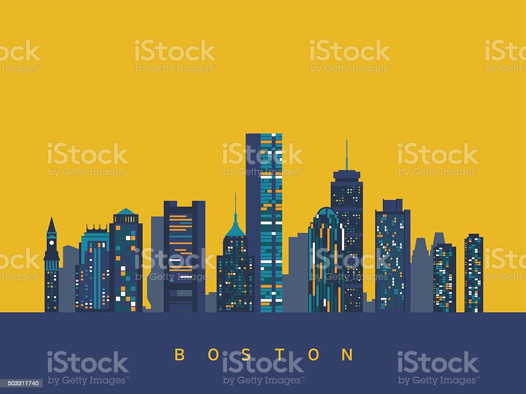 Boston abstract skyline vector art illustration
