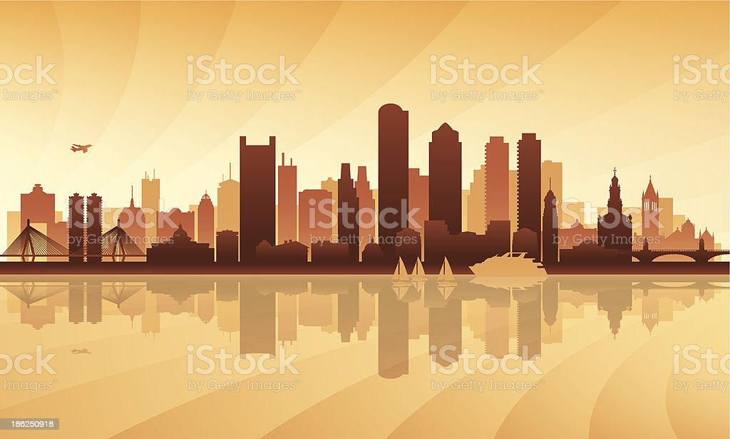 Boston city skyline detailed silhouette vector art illustration