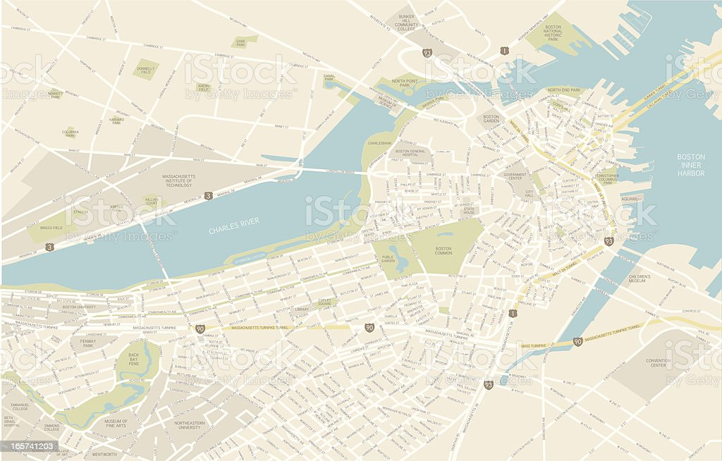 Boston Downtown Map royalty-free stock vector art