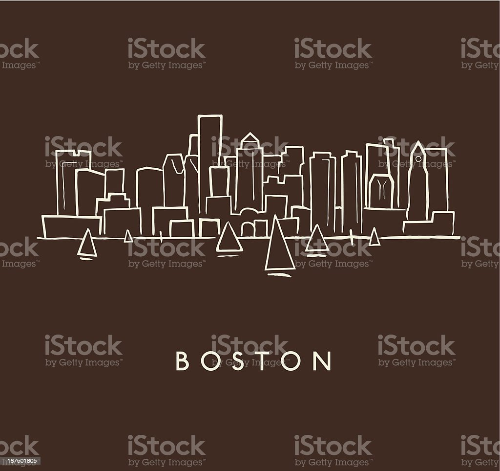 Boston Skyline Sketch vector art illustration