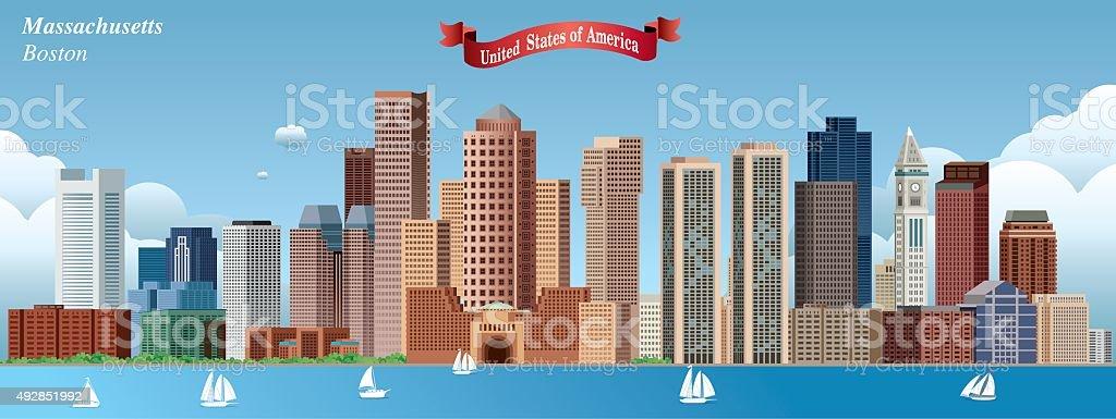 Boston Skyline vector art illustration