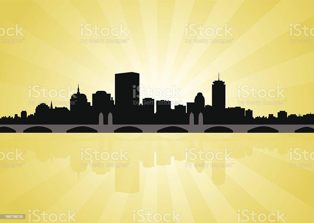 Boston Skyline with Longfellow Bridge royalty-free stock vector art