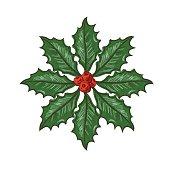 Botanical Christmas Holly Ornament