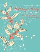 Botanical Christmas Plants Background Party Invitation
