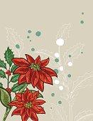 Botanical Christmas Plants Background