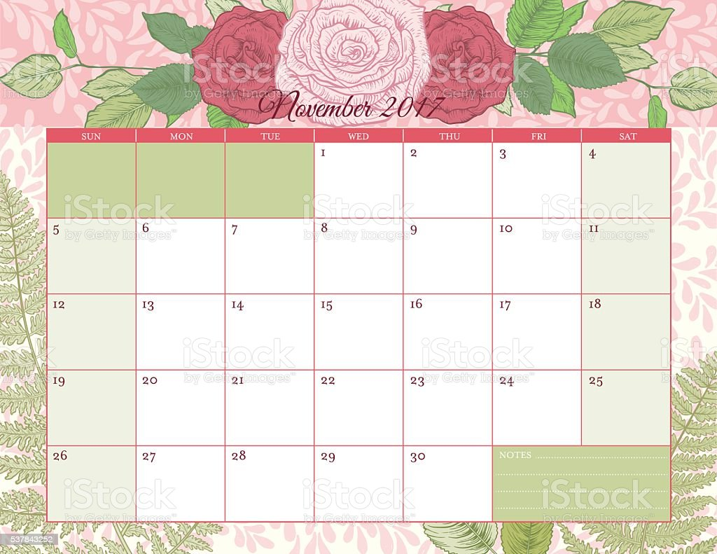 2017 Botanical Floral Desk Pad Calendar Template vector art illustration