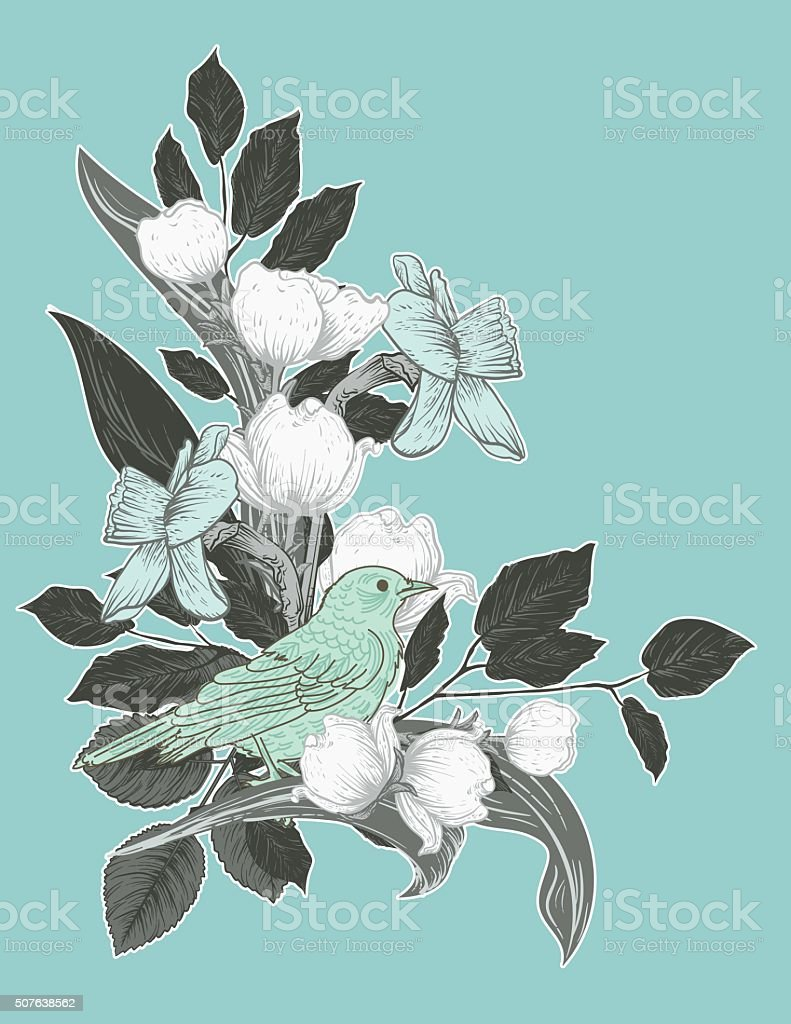 Botanical Flowers And Branches With a Cute Bird Perched Inside vector art illustration