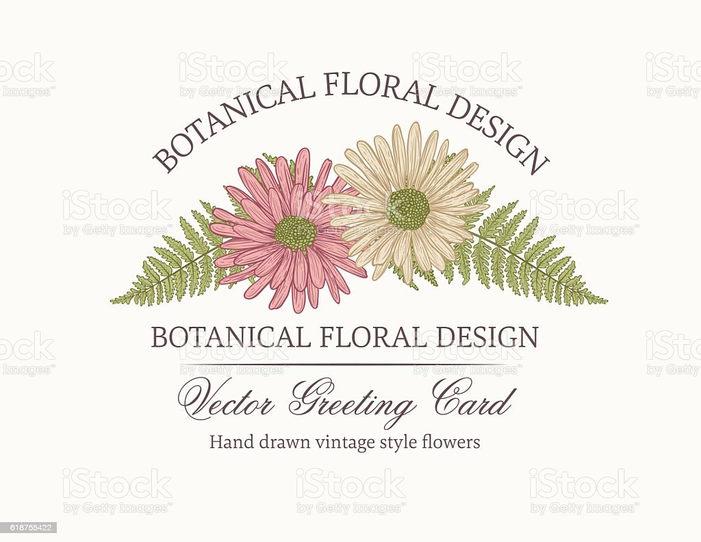 Botanical Flowers Invitation Template vector art illustration