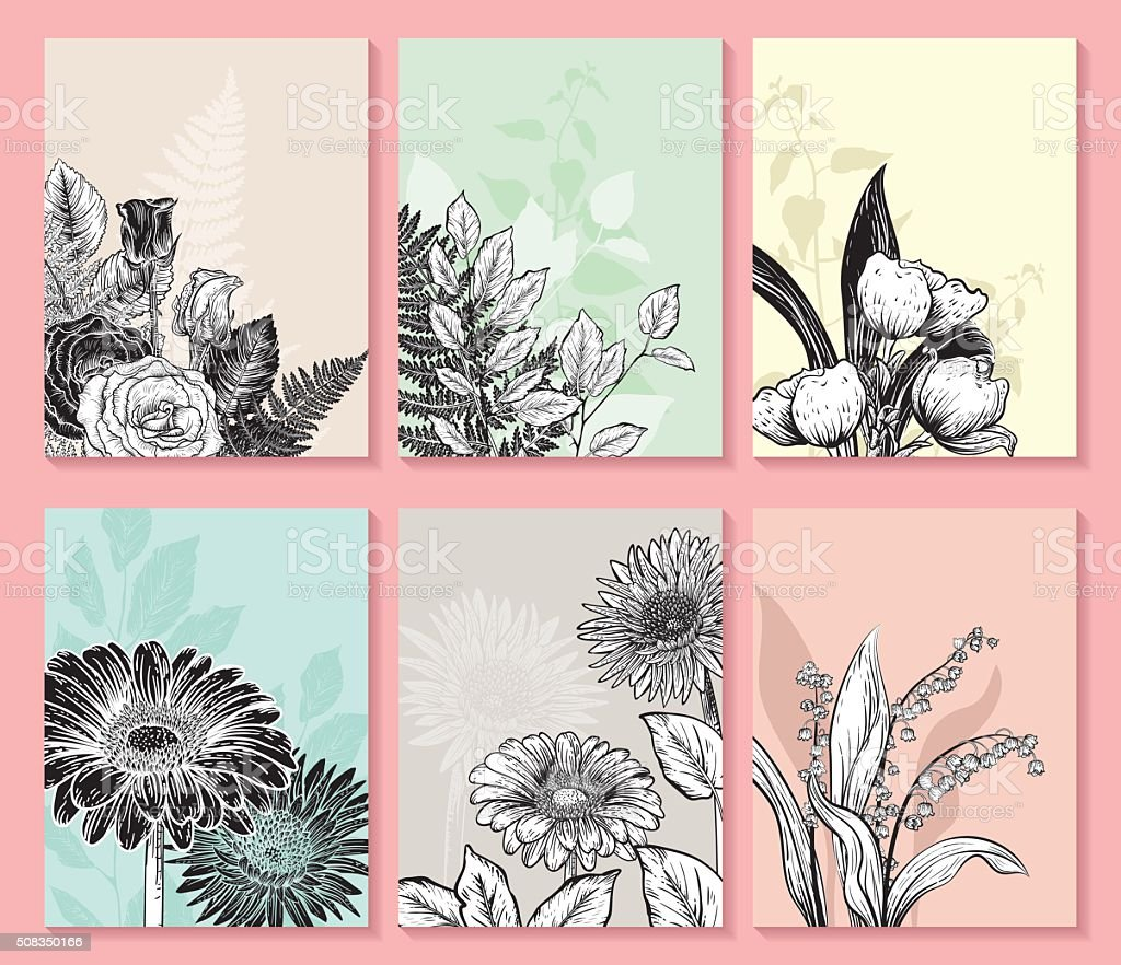 Botanical Flowers Invitation Templates vector art illustration