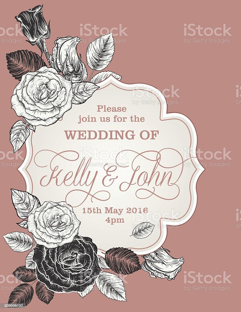 Botanical Flowers Wedding Invitation Template vector art illustration