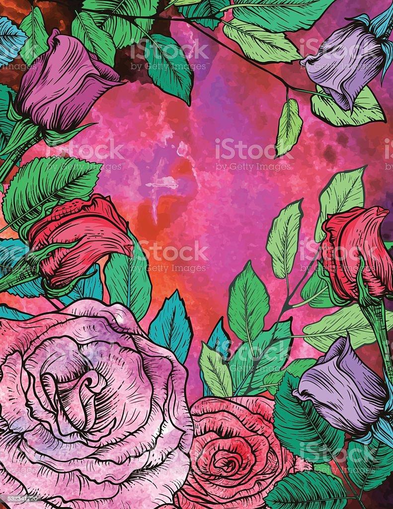 Botanical Roses Floral Background vector art illustration