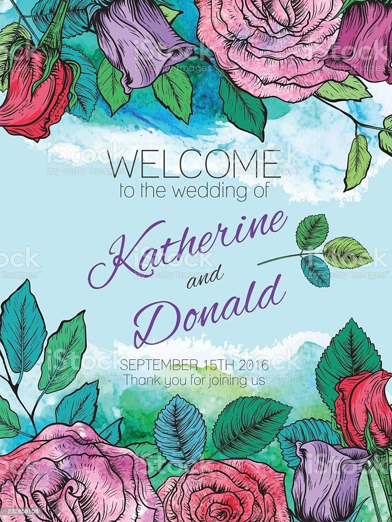 Botanical Roses Floral Wedding Welcome Sign vector art illustration