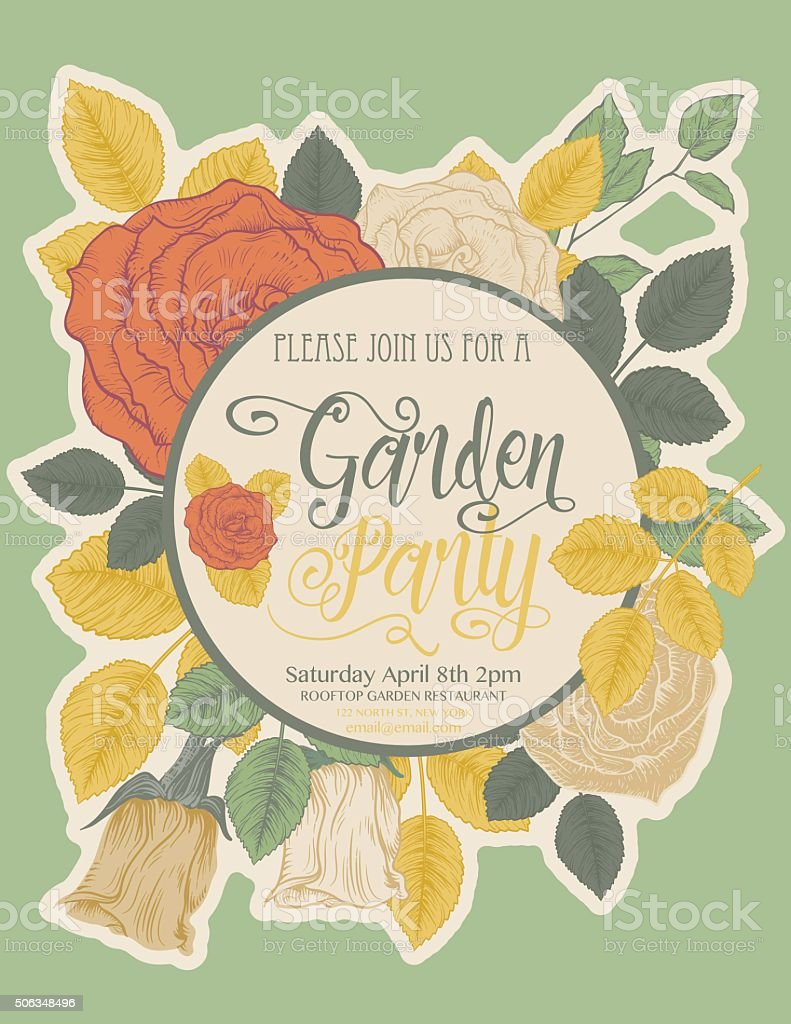 Botanical Roses Garden Party Invitation Card vector art illustration
