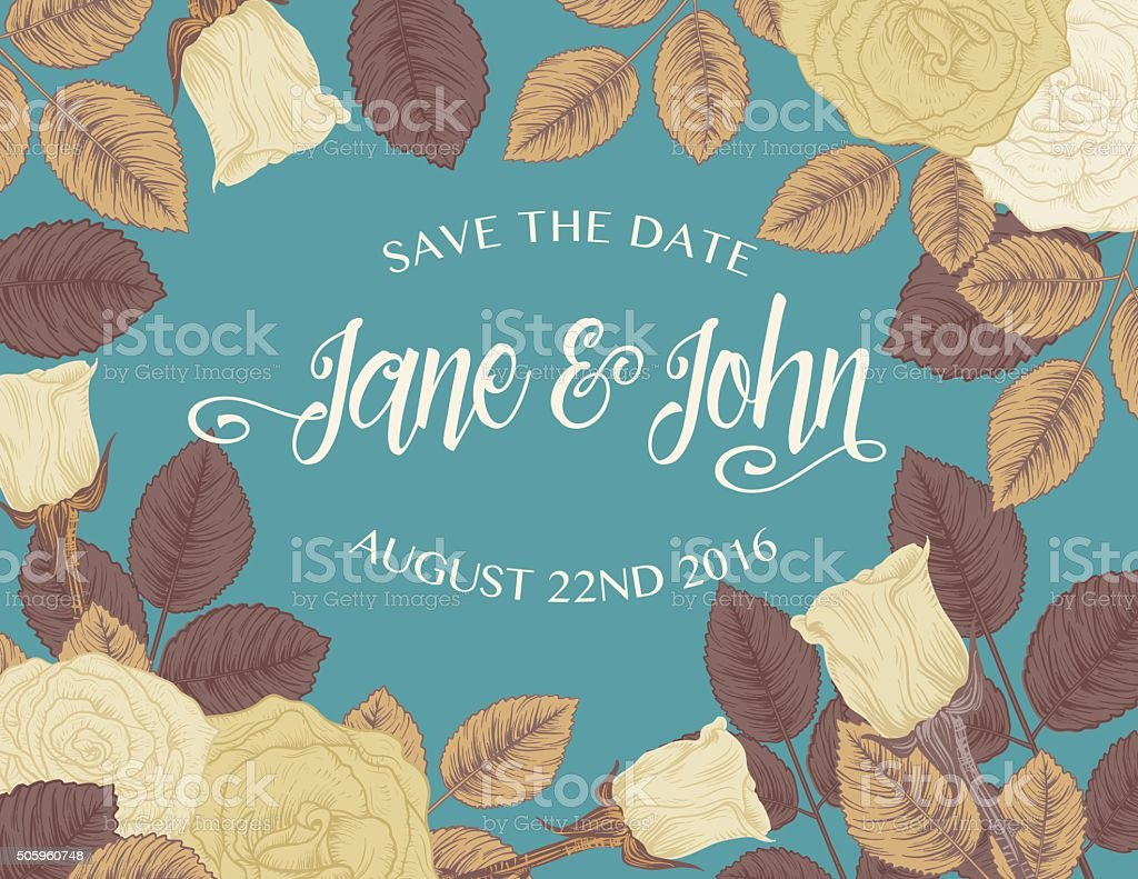 Botanical Roses Save The Date Card vector art illustration