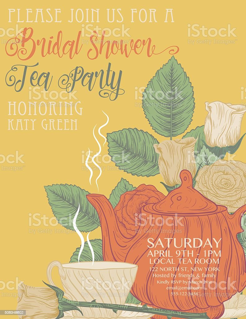Botanical Roses Tea Party Bridal Shower Template vector art illustration