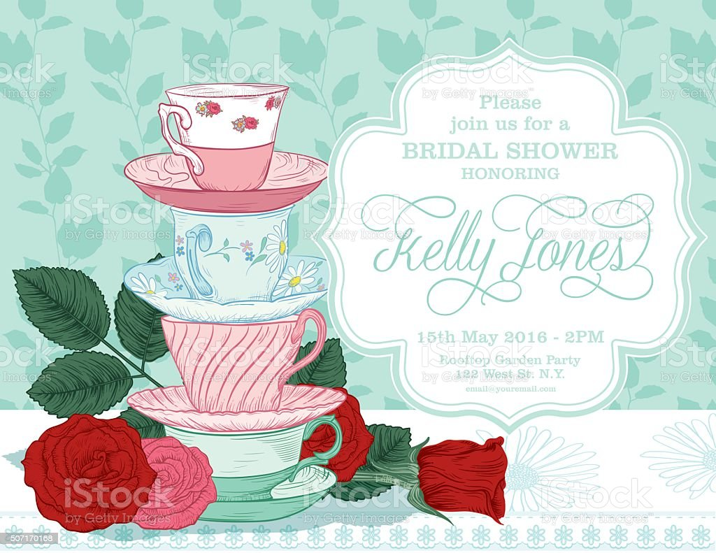 Botanical Roses Tea Party Bridal Shower Template vector art illustration