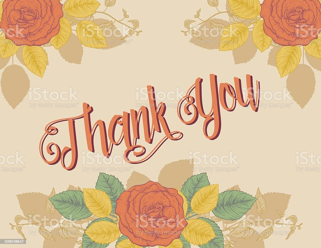 Botanical Roses Theme Thank You Card vector art illustration