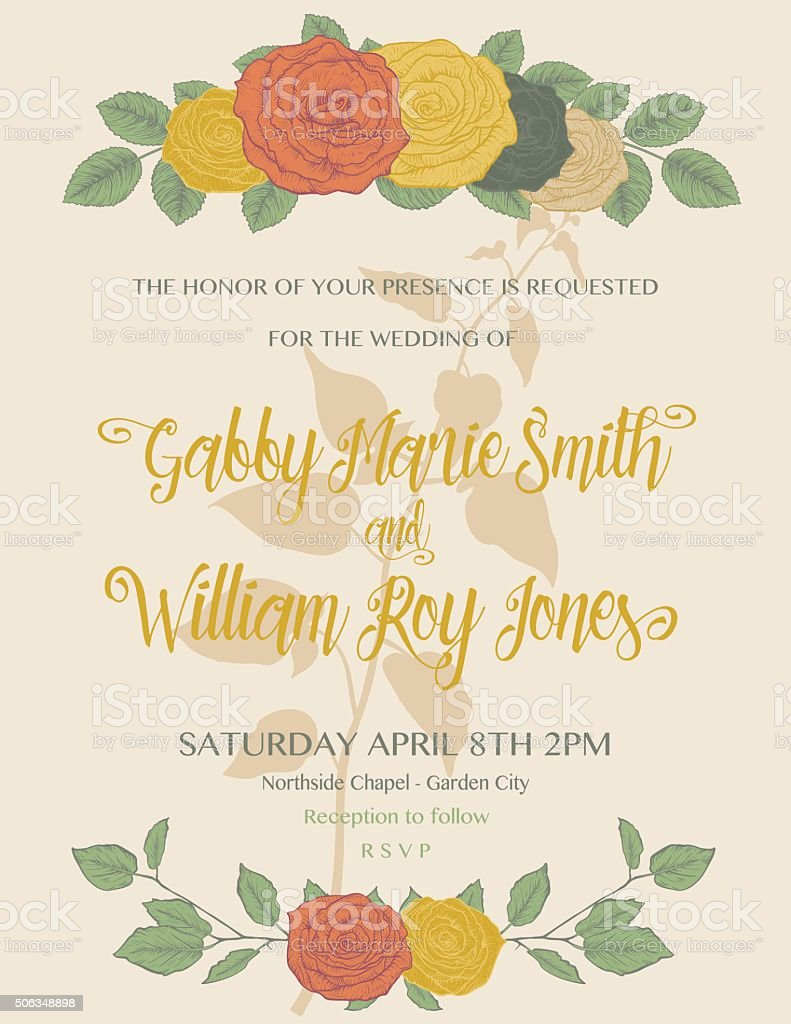 Botanical Roses Wedding Invitation Template vector art illustration