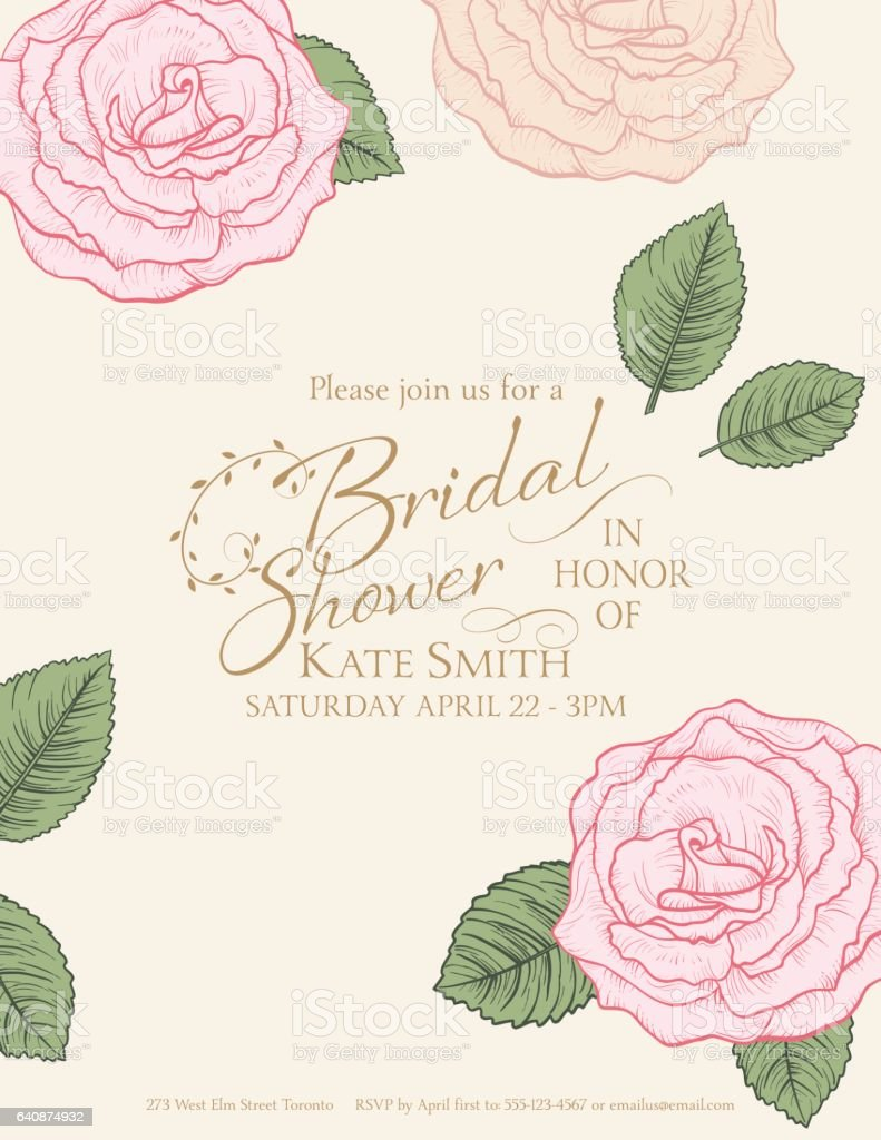 Botanical Style Roses Greeting Card or Invitation Template vector art illustration