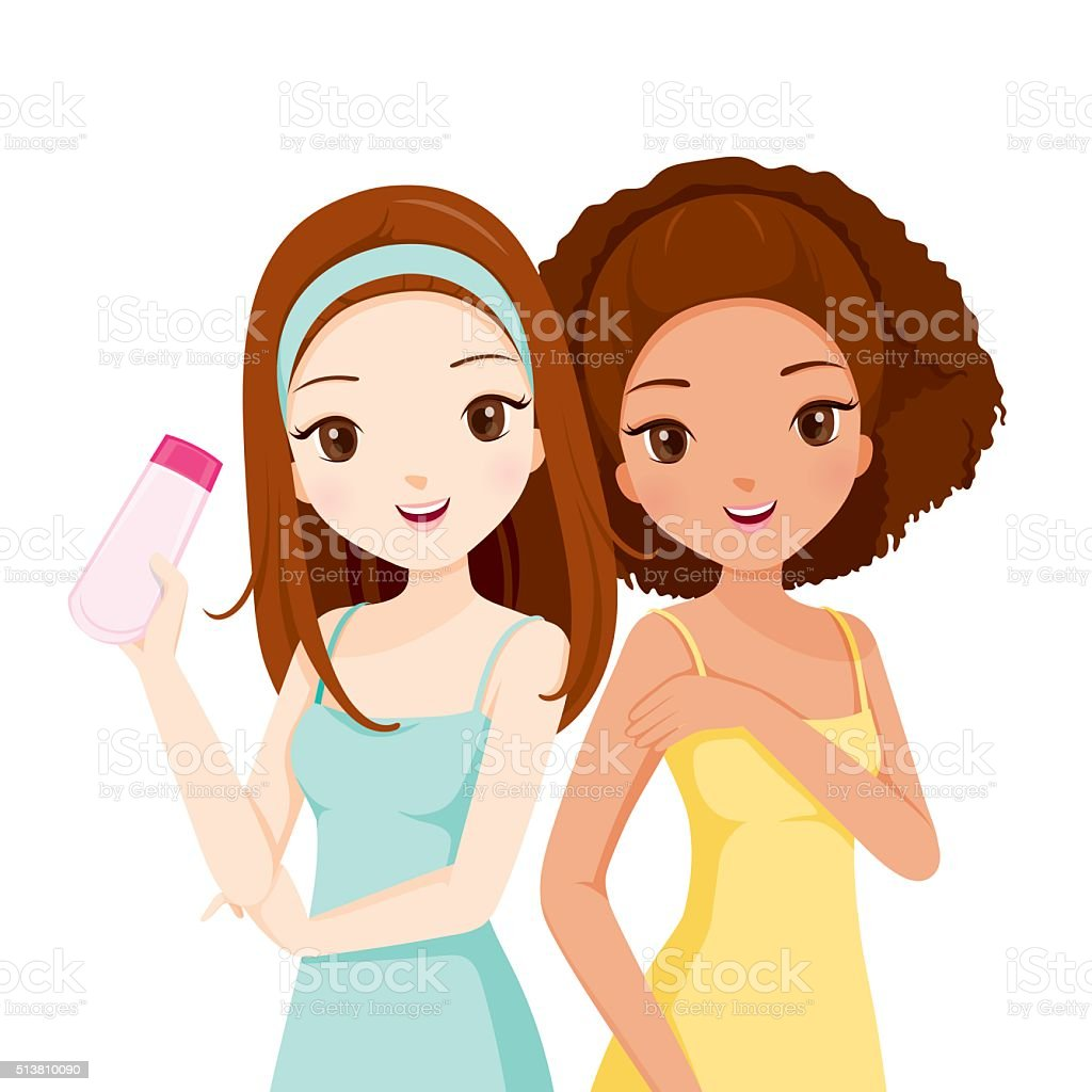 Both Girl Smiling And Holding Beauty Packaging vector art illustration