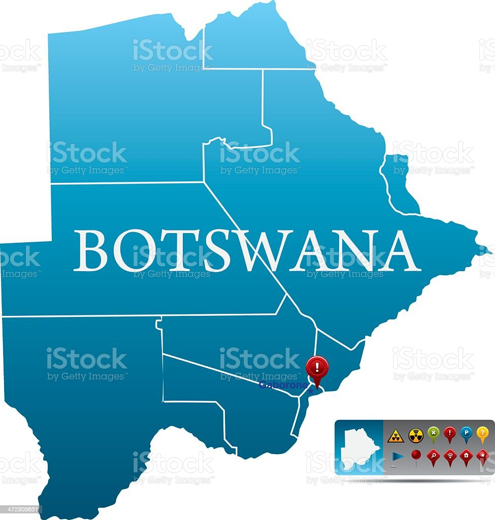 Botswana map with navigation icons royalty-free stock vector art