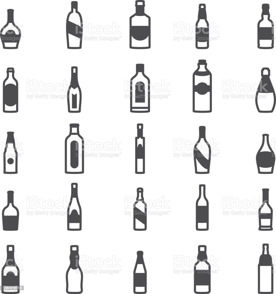 Bottle alcohol icons vector art illustration