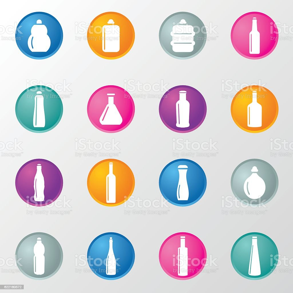 Bottle and Beverage Circle Color Icons vector art illustration