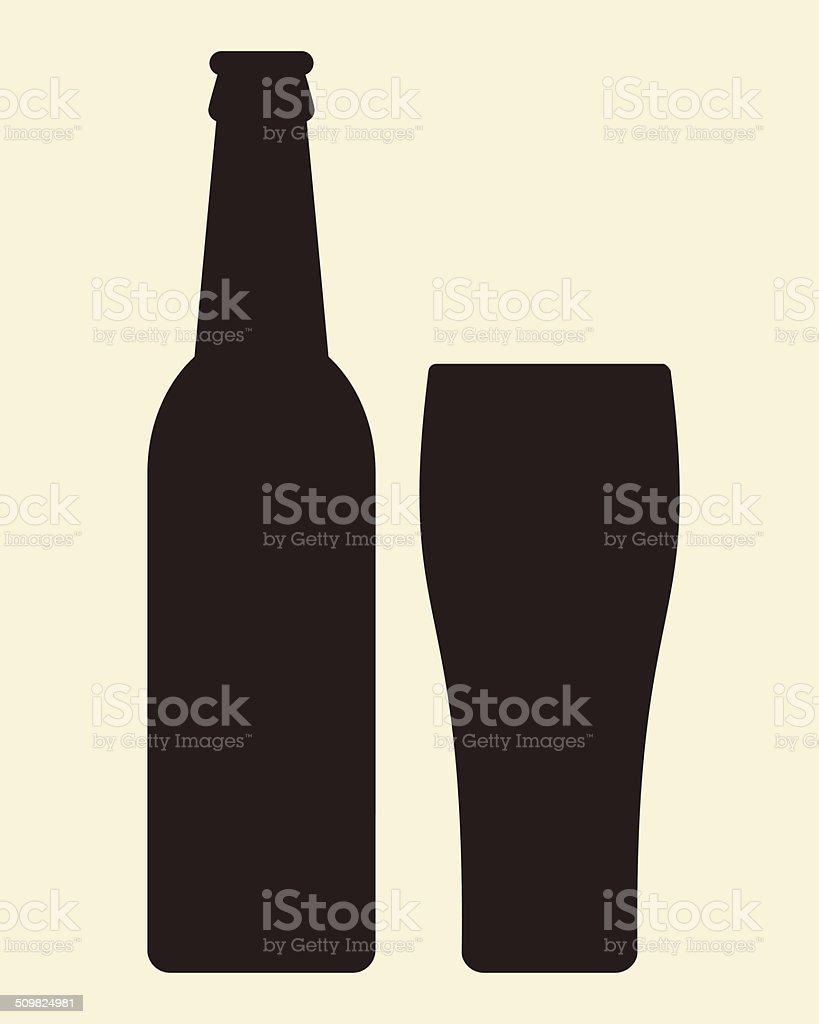 Bottle and glass of beer - vector illustration vector art illustration