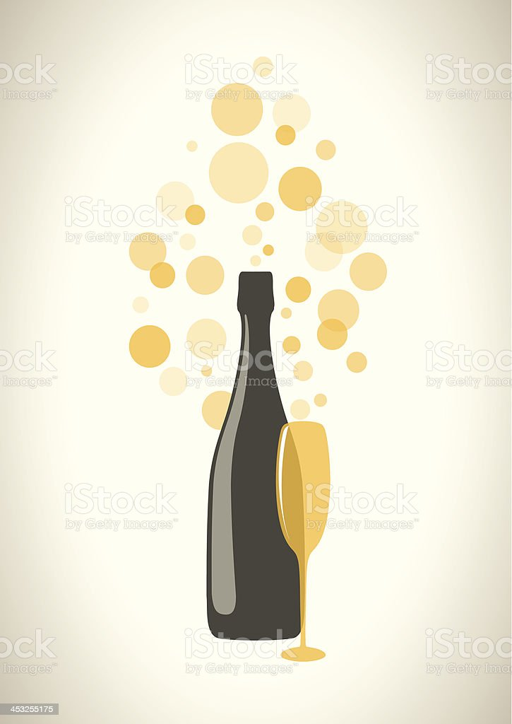 Bottle and glass of champagne with bubbles on grey background. vector art illustration