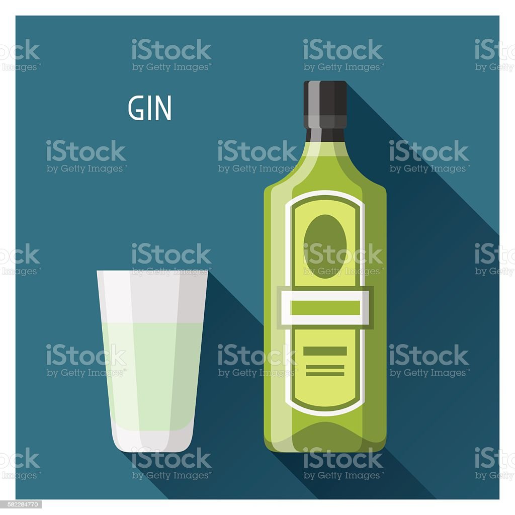 Bottle and glass of gin in flat design style vector art illustration