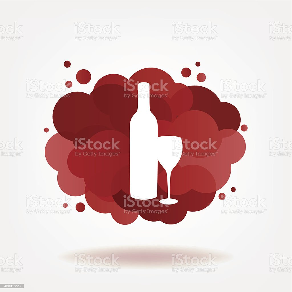 Bottle and glass of wine with clouds. royalty-free stock vector art