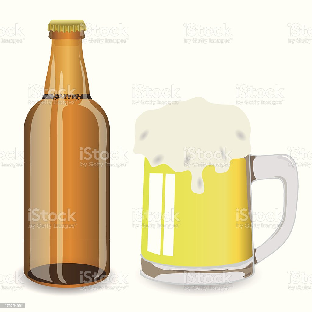 bottle and mug of beer royalty-free stock vector art
