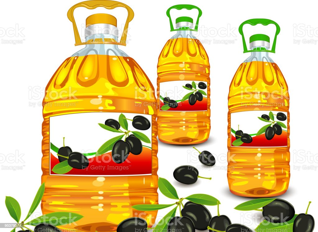 Bottle and olive royalty-free stock vector art