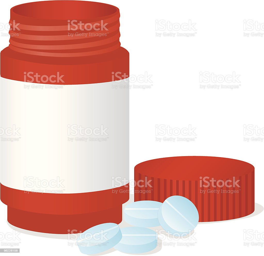Bottle and tablets royalty-free stock vector art