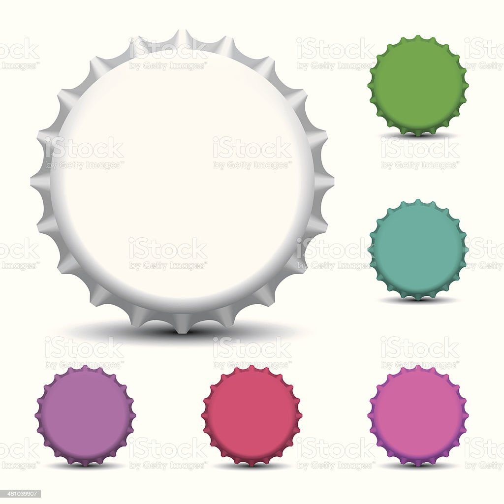 Bottle caps isolated on white background vector art illustration