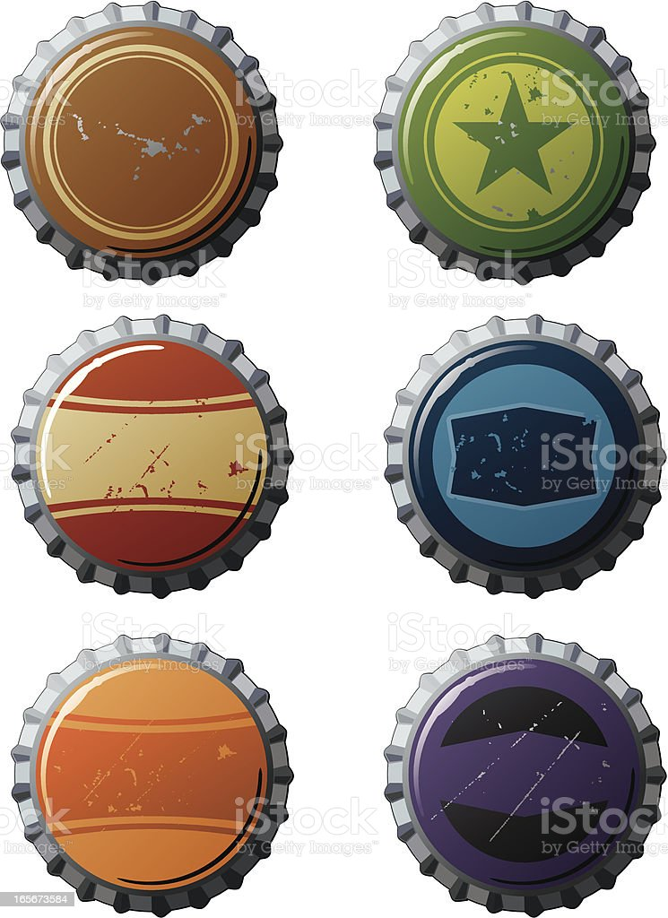 Bottle Caps with Retro Designs vector art illustration