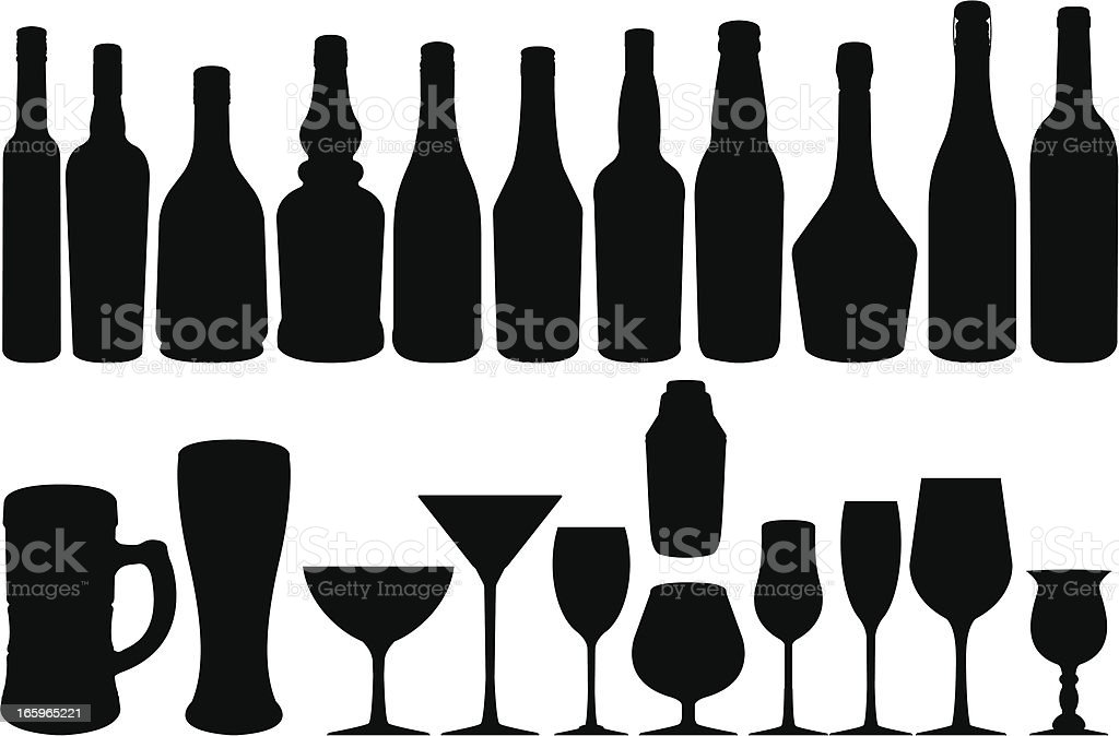 Bottle & glasses vector art illustration
