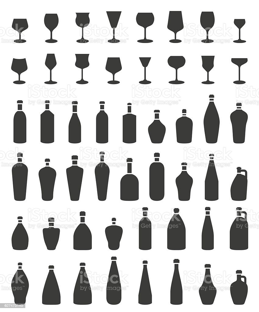 Bottle icon set vector art illustration