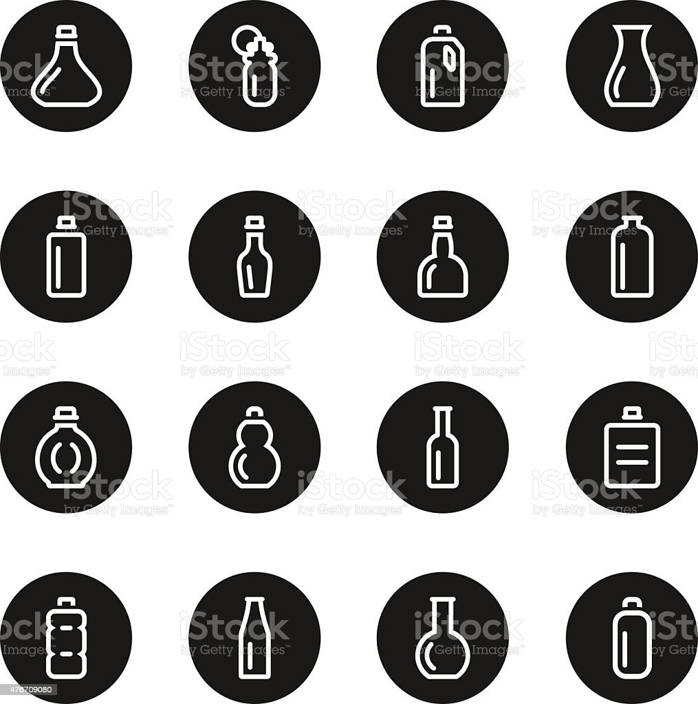 Bottle Icons Set 1 - Black Circle Series vector art illustration