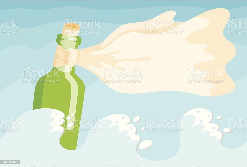 Bottle in the sea vector art illustration