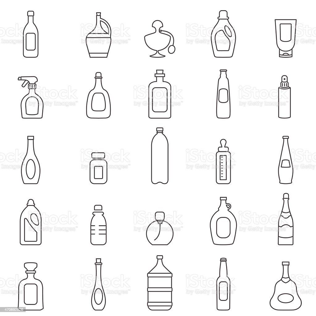 Bottle line icons set.Vector vector art illustration