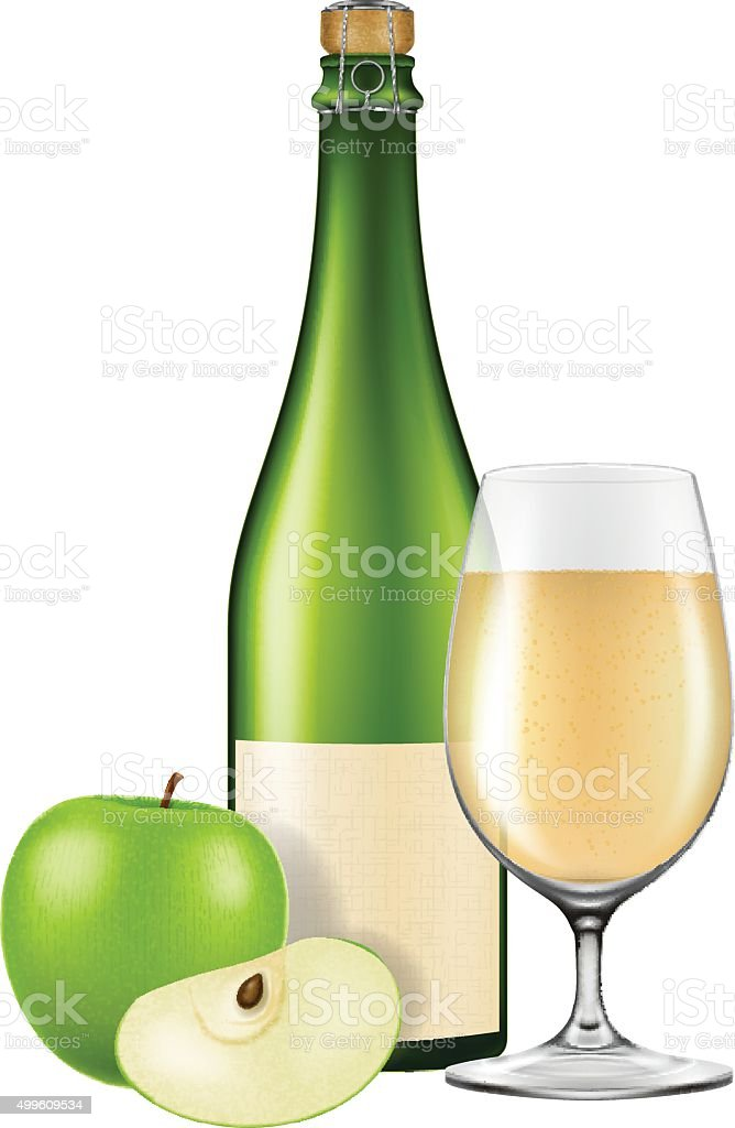 Bottle of apple cider with a glass and an apple. vector art illustration