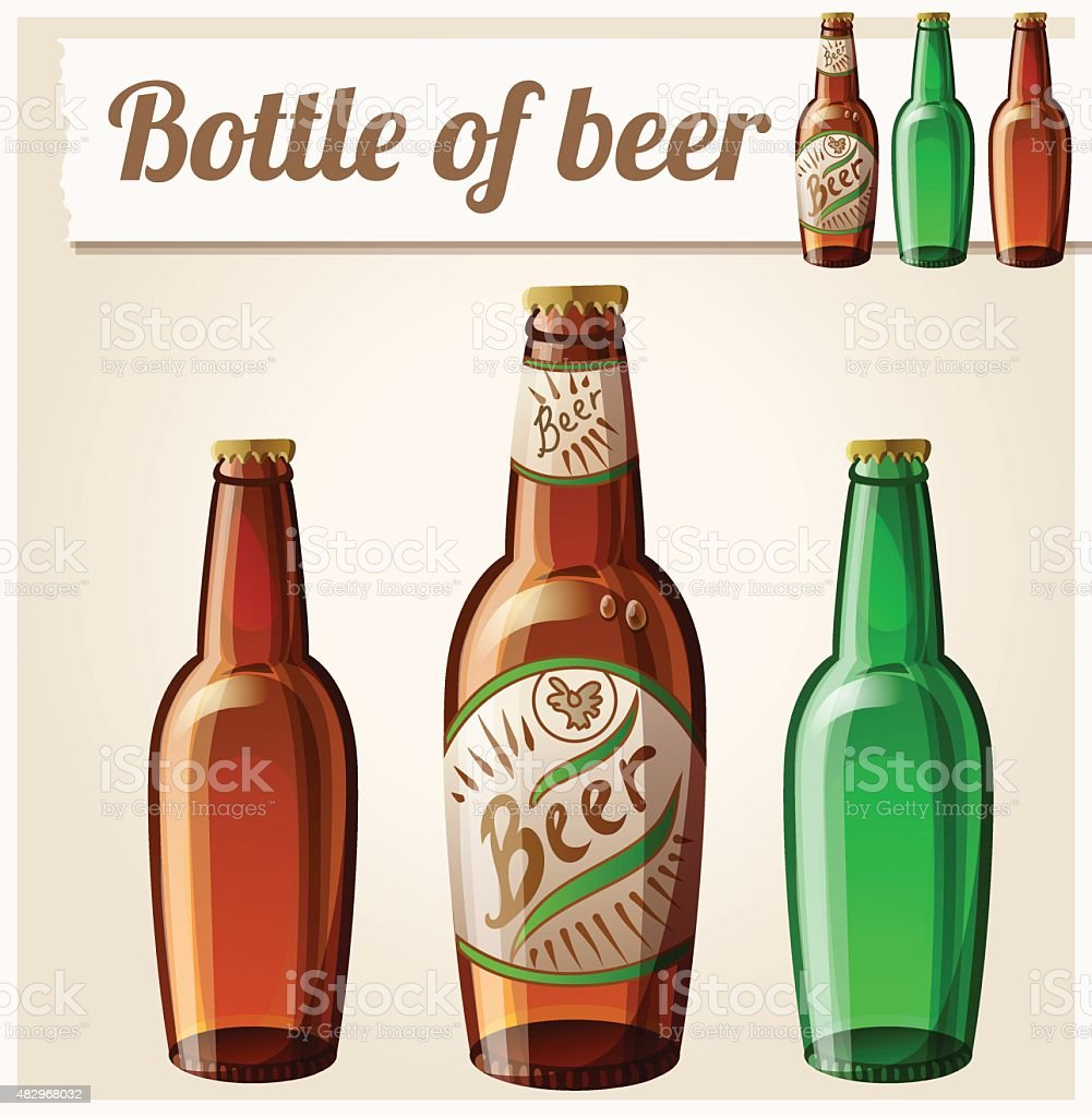 Bottle of beer. Detailed Vector Icon vector art illustration