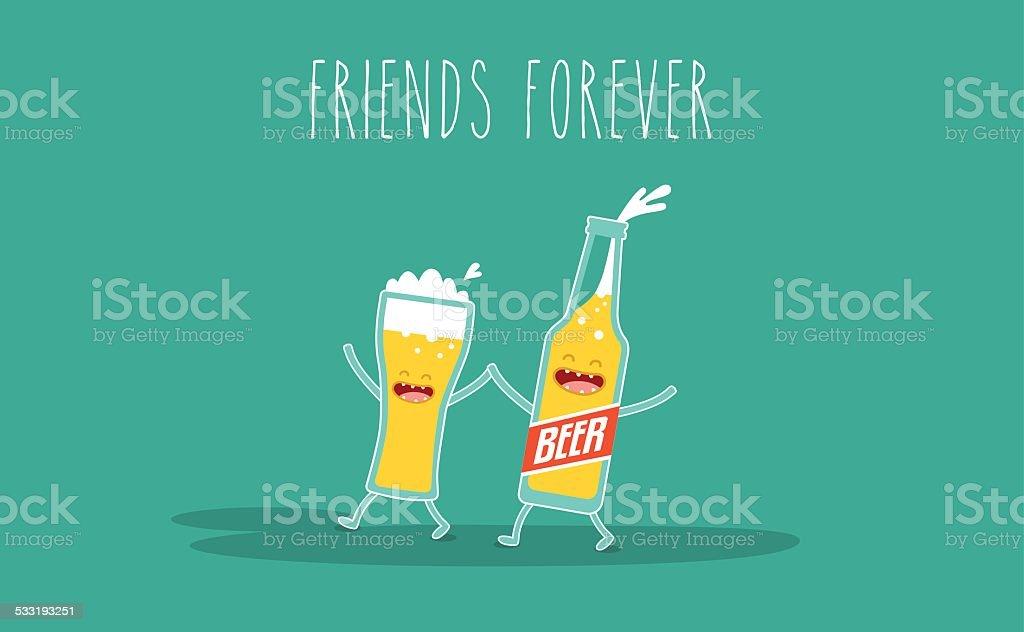 bottle of beer vector art illustration