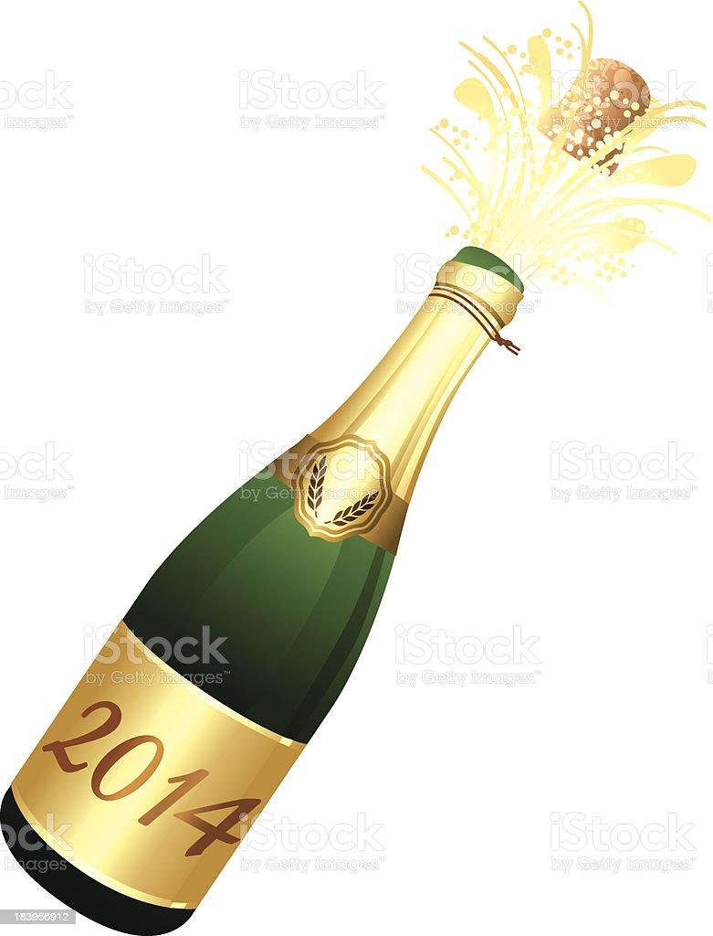 Bottle of Champagne. 2014 label. vector art illustration