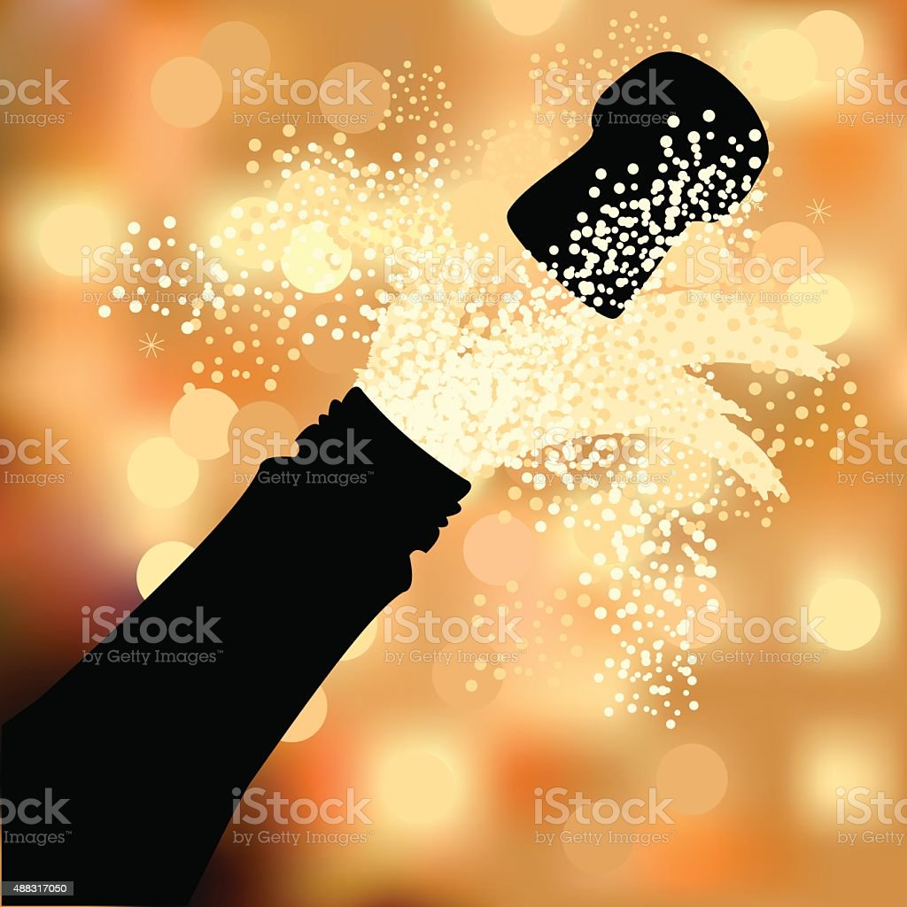 Bottle of champagne to spray on a abstract background vector art illustration